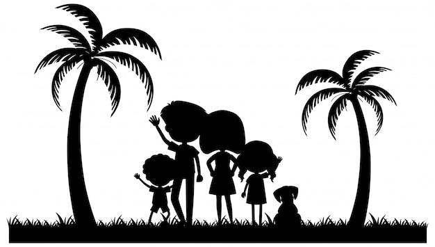 公園で家族のシルエットの人々 Premiumベクター