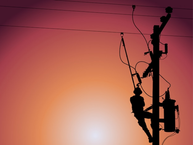 Silhouette of power lineman closing a single phase transformer. Premium Vector