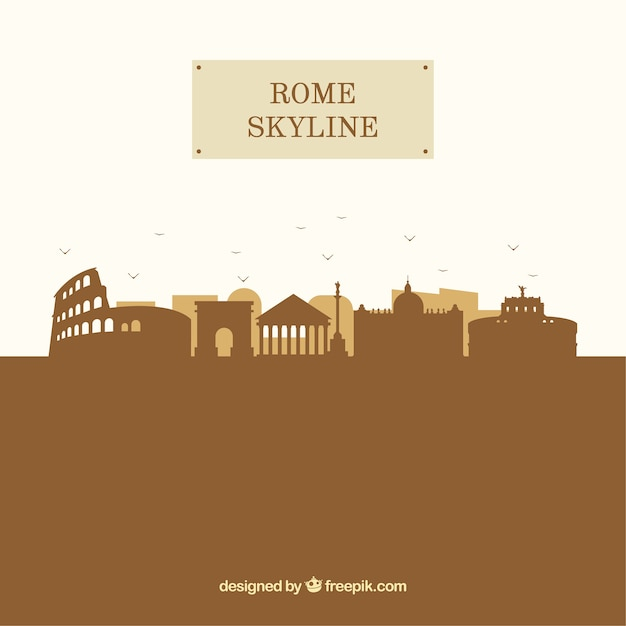 Silhouette rome skyline background in flat style Free Vector