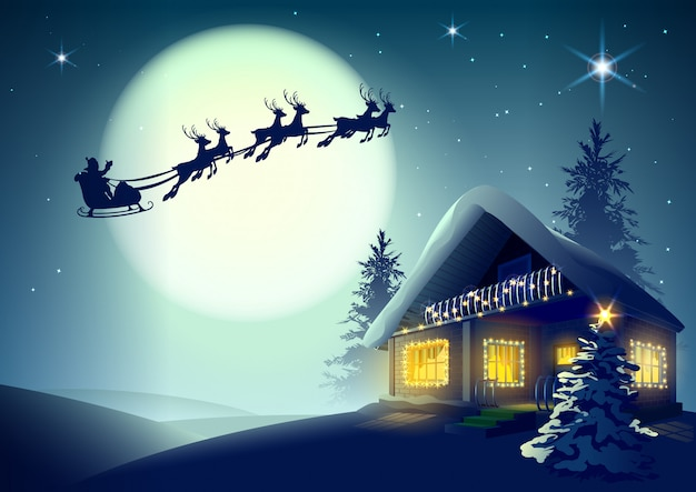 Silhouette santa claus and reindeer flying over christmas house in winter forest Premium Vector