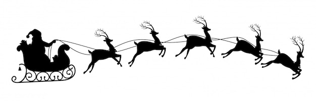 Silhouette of santa claus riding on reindeer sleigh. Premium Vector