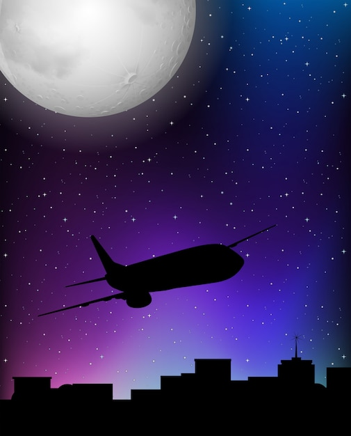 Silhouette scene with airplane flying at night Free Vector