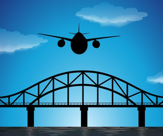 Silhouette scene with airplane flying in blue sky Free Vector