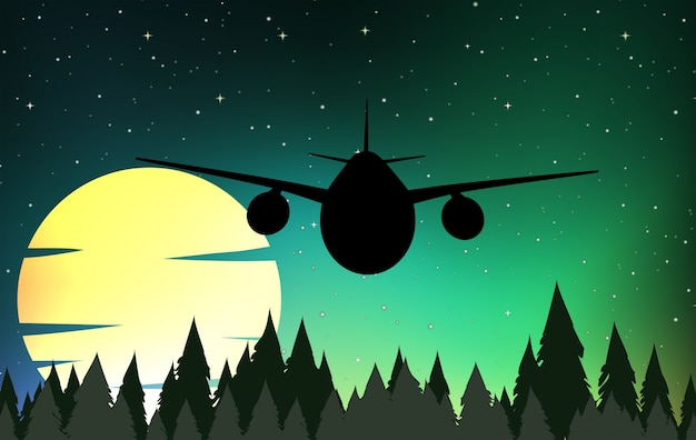 Silhouette scene with airplane flying Free Vector