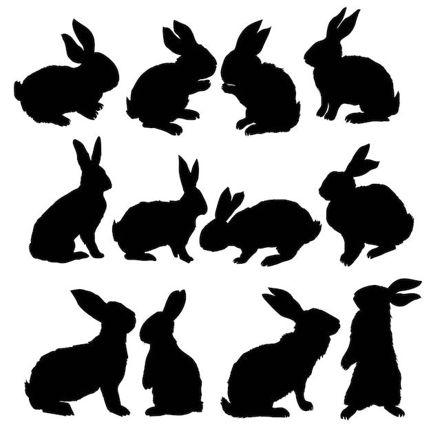 Silhouette of a sitting up rabbit, vector illustration Premium Vector
