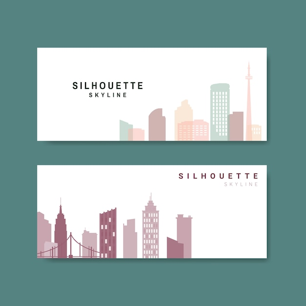 Silhouette skyline illustration collection Free Vector