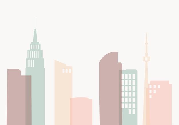 Silhouette skyline illustration Free Vector