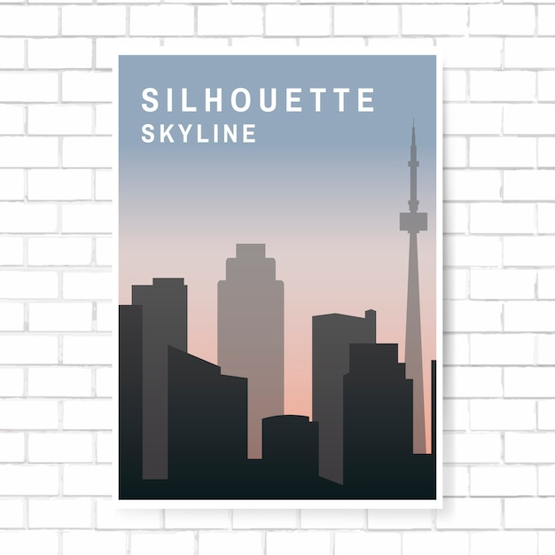 Silhouette skyline illustration Free Vector