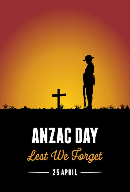 Silhouette of soldier paying respect at the grave, vector Premium Vector