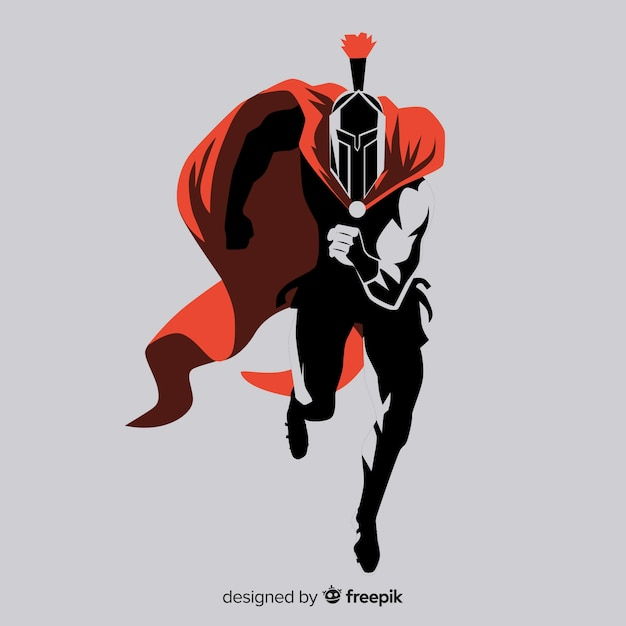 Silhouette of spartan warrior running Free Vector