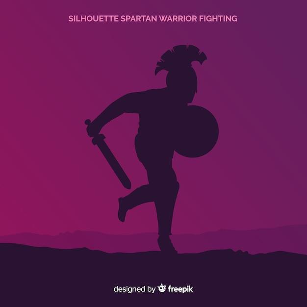 Silhouette di un addestramento guerriero spartano Vettore gratuito