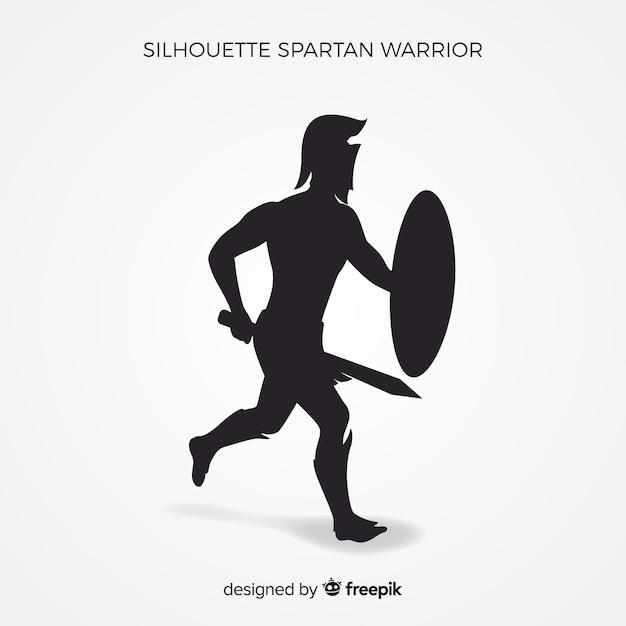 Sagoma di guerriero spartano con spada Vettore gratuito