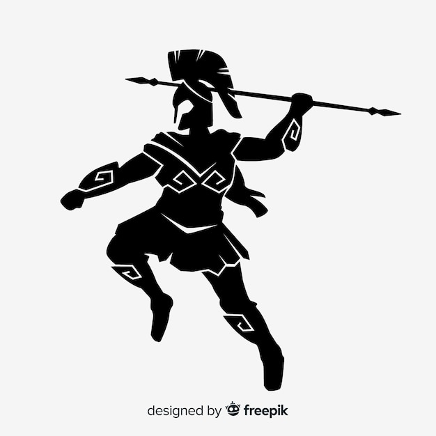 Silhouette of a spartan warrior Free Vector