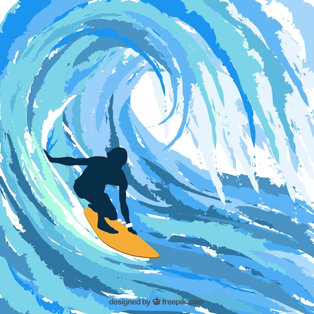 Silhouette of surfer Free Vector