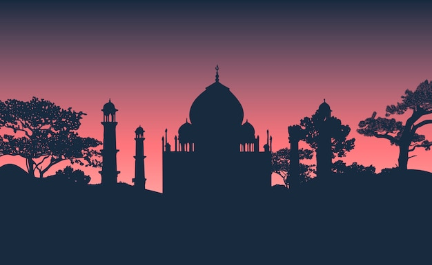 Silhouette of the taj mahal vector Free Vector