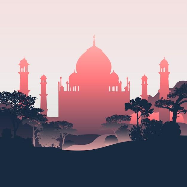 Silhouette Of The Taj Mahal Vector Vector Free Download