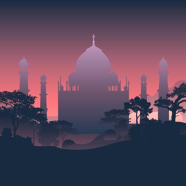 Silhouette of the taj mahal Free Vector