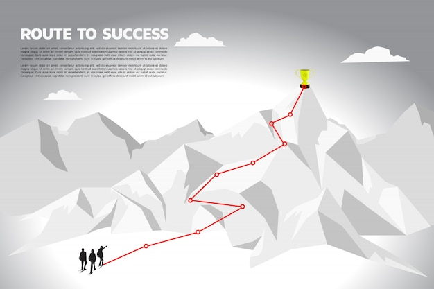 Silhouette team businessman plan to get champion trophy on mountain. Premium Vector
