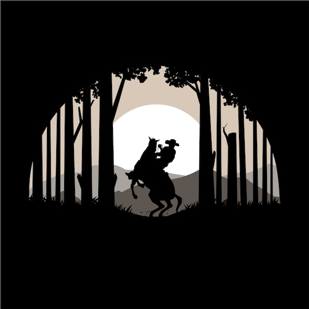 Silhouette of texas forest and horse vector illustration Premium Vector