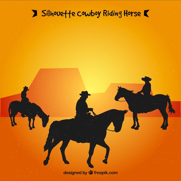 Silhouette of three cowboys riding Free Vector