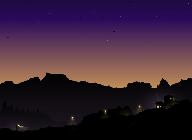 Silhouette of the tourist who hiking back to home in the twilight. vector illustration Premium Vector