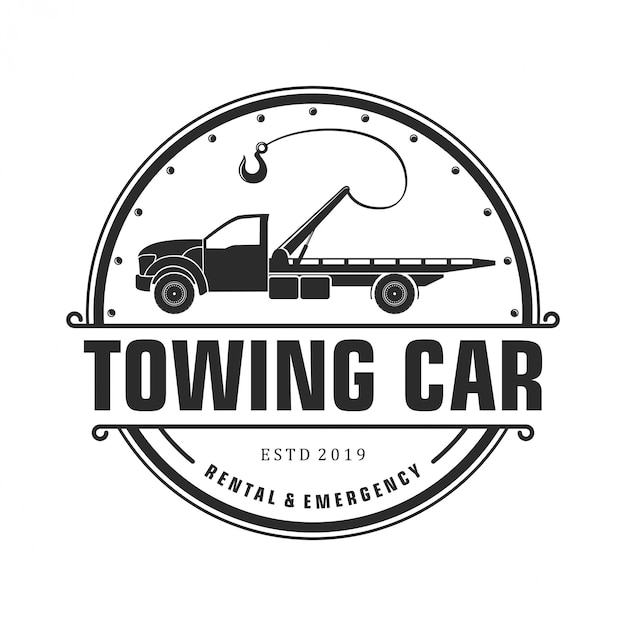 Silhouette towing car logo design Premium Vector