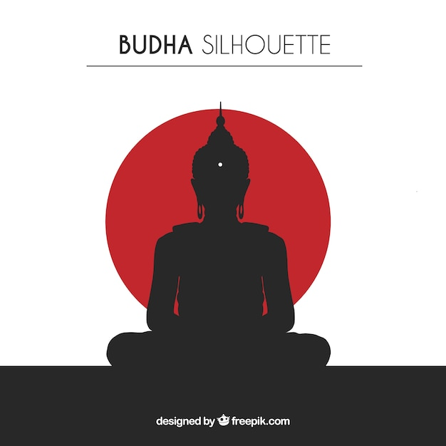 Silhouette of traditional budha Premium Vector