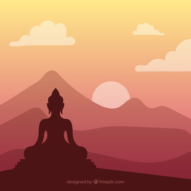 Silhouette of traditional budha Free Vector