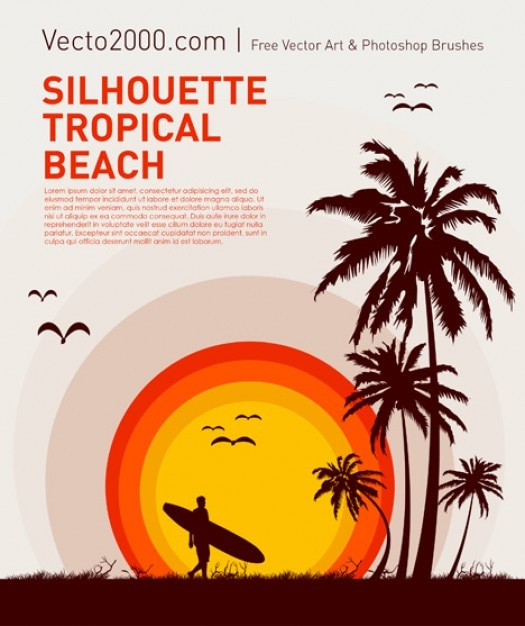 Silhouette Tropical Beach Free Vector