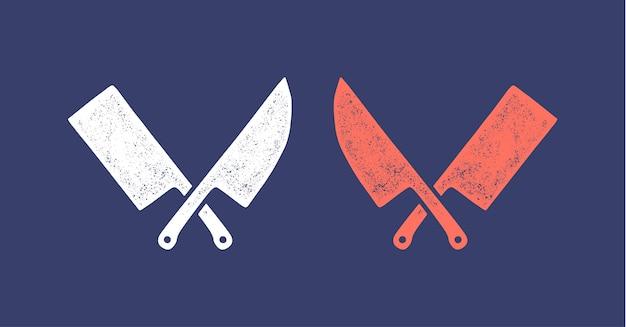 シルエットの2つの肉切り包丁-クリーバーとシェフナイフ。 Premiumベクター