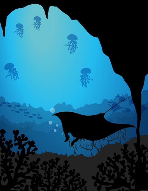 silhouette underwater scene with stingray vector free download
