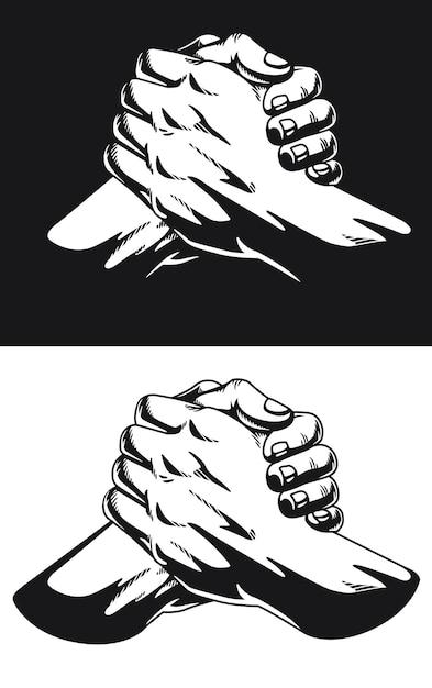 Силуэт городская душа рукопожатие застежка большого пальца homie Premium векторы