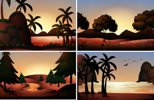 Silhouette view of ocean and rivers\ illustration