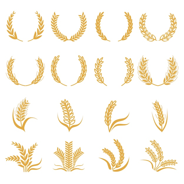 Silhouette of wheat Premium Vector