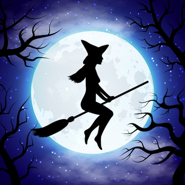 Silhouette of witch flying on the broom in halloween night Premium Vector