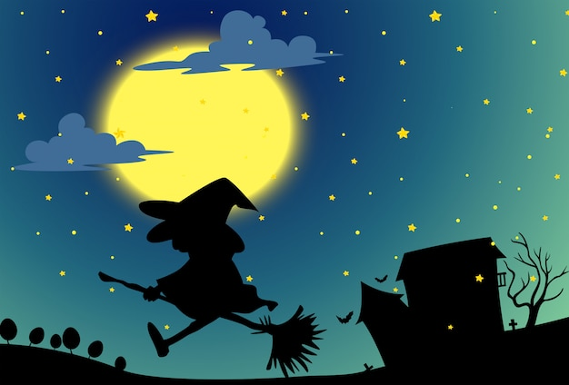 Silhouette witch flying on broom at night Free Vector