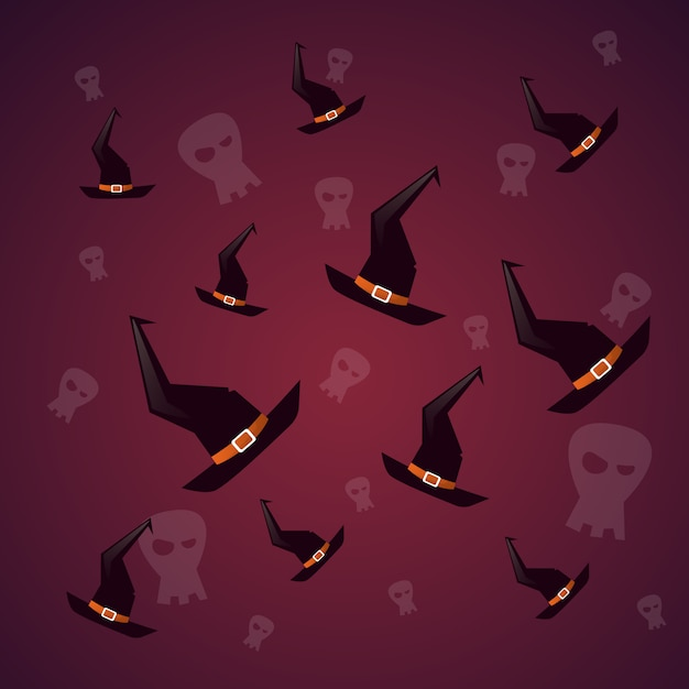 Silhouette witch hats and skull happy halloween. decoration horror party Premium Vector