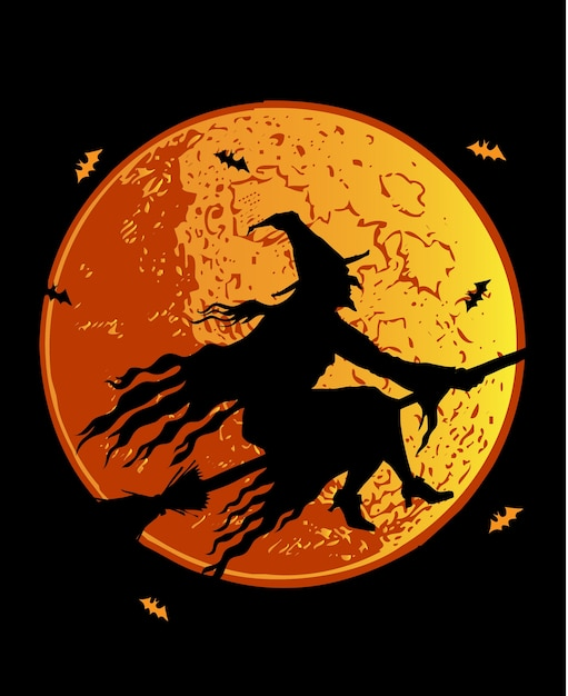 Silhouette witch vector Premium Vector
