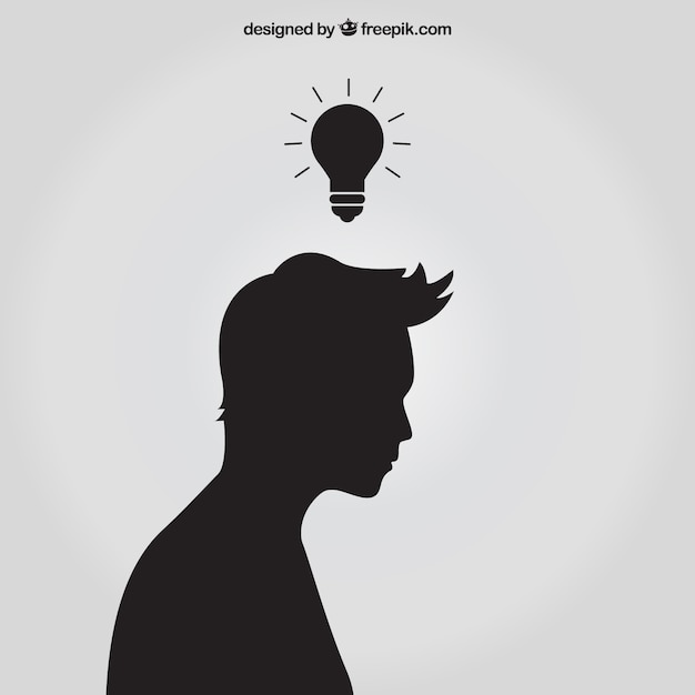 Silhouette with idea Free Vector