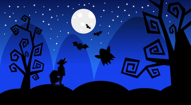 Halloween Trick Or Treat Silhouette.Silhouette Wolf Earn On Moon Scary Shadows Happy Halloween