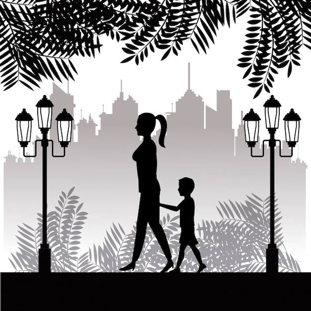 실루엣 여자와 아이 산책 공원 마을 배경 프리미엄 벡터