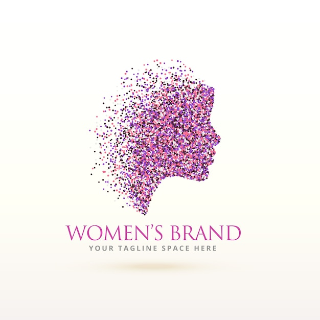 Silhouette woman logo with particles Free Vector