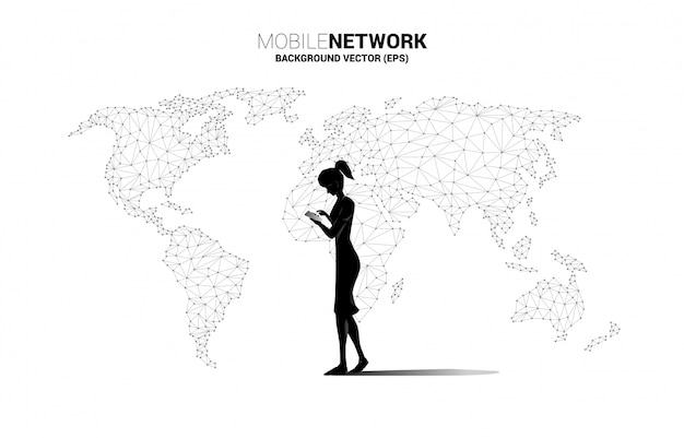 Silhouette of woman use mobile phone with world map polygon background. concept for remote work from home and technology. Premium Vector