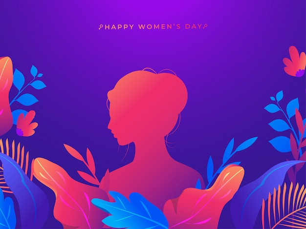 Silhouette woman with colorful nature on purple background for happy women's day celebration concept. Premium Vector