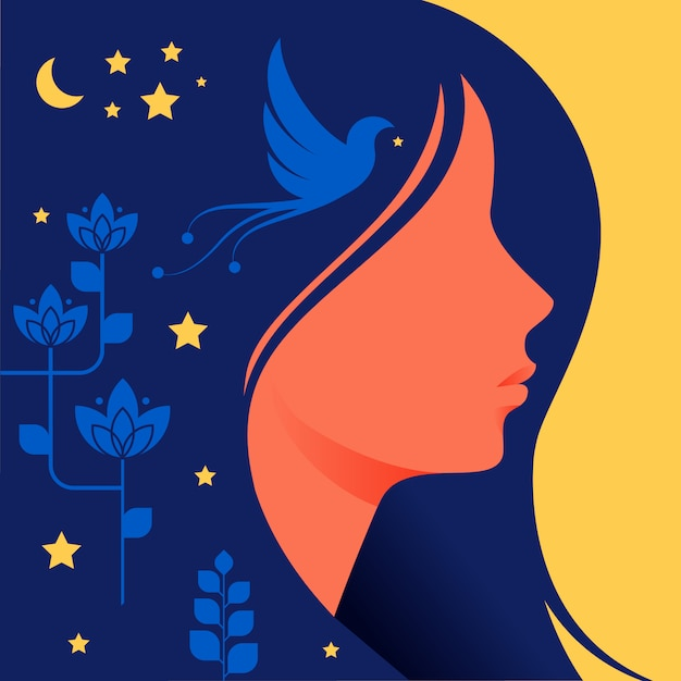 Silhouette of woman with dark hair in profile. Premium Vector