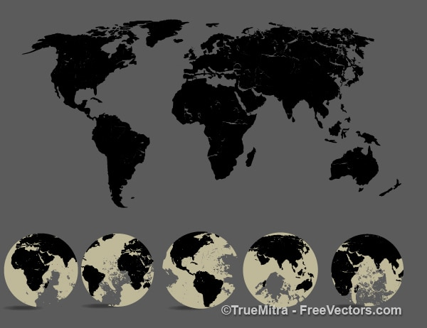 Silhouette world map and five view of the globe vector free download silhouette world map and five view of the globe free vector gumiabroncs Gallery