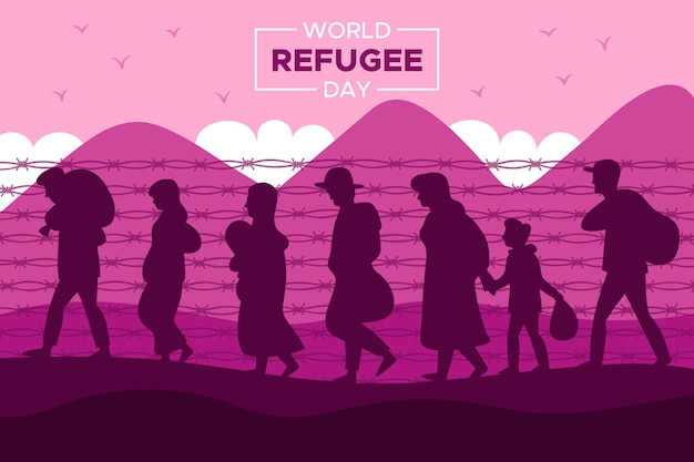 シルエット世界難民の日のコンセプト 無料ベクター