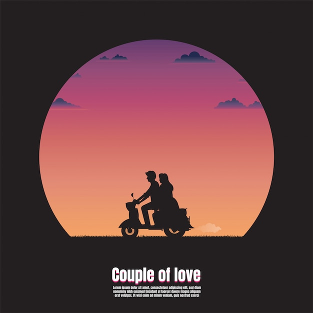 Silhouette young couple on motorcycle Premium Vector