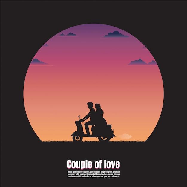 Силуэт молодая пара на мотоцикле Premium векторы