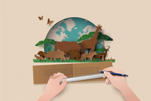 Силуэты животные бумага вырезать стиль. спасти животных Premium векторы
